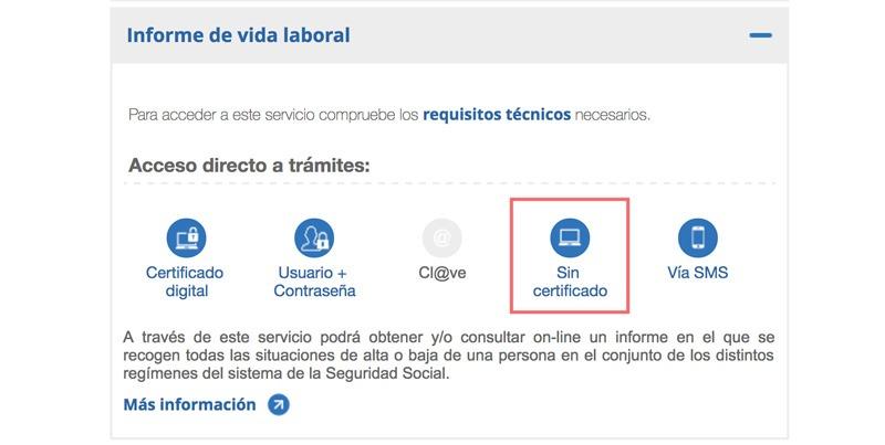vida laboral sin certificado digital