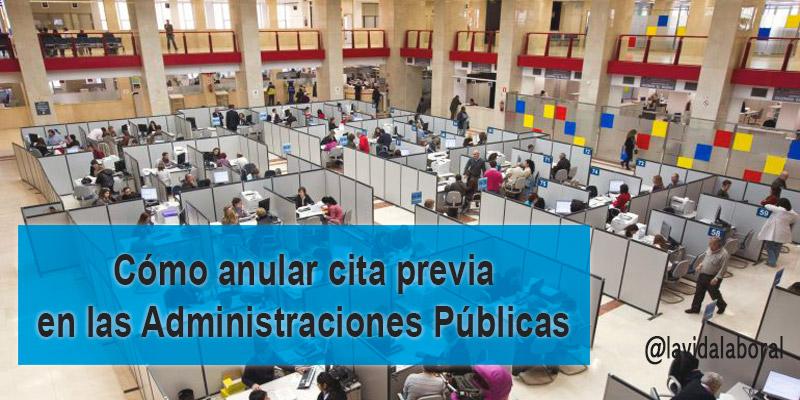 anular cita previa en administraciones públicas